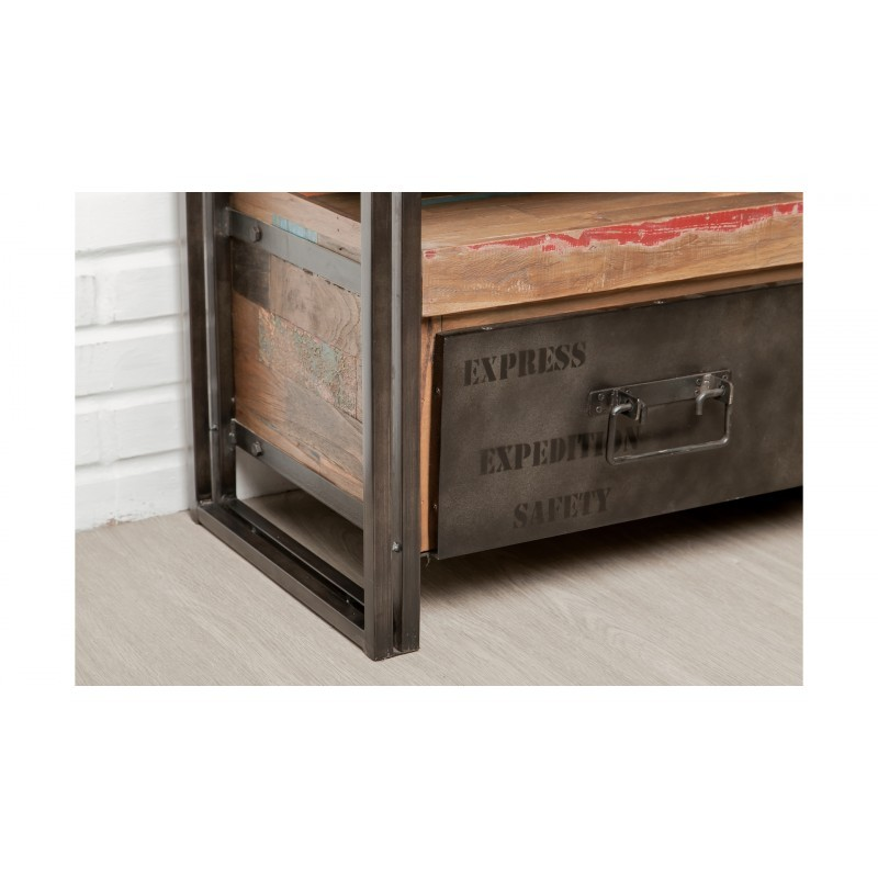 Möblierte 4 Schubladen 1 niedrige TV Nische 210 cm NOAH massiven Teak recycelt Industrie und Metall - image 36287