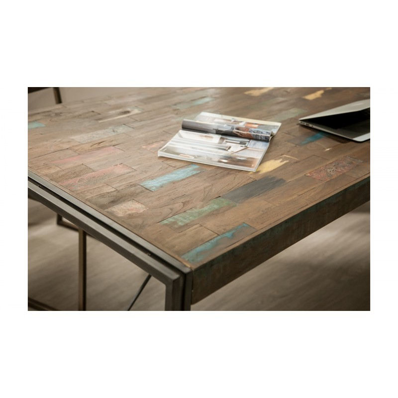 Table vintage NOAH in solid recycled teak and metal (180x90x78cm) - image 36295