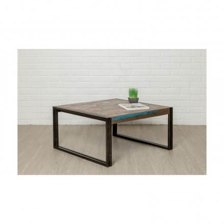 Square low table vintage NOAH in solid recycled teak and metal (80x80x40cm)