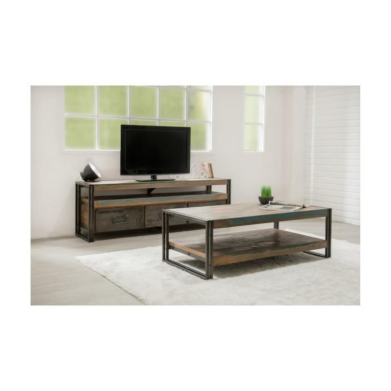 table basse double plateaux rectangulaire vintage noah en. Black Bedroom Furniture Sets. Home Design Ideas
