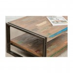 Table low double trays rectangular vintage NOAH massive teak recycled and metal (120x60x40cm)