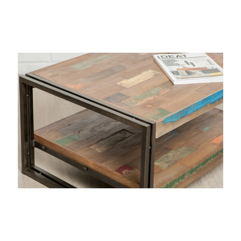 Table low double trays rectangular vintage NOAH massive teak recycled and metal (120x60x40cm) - image 36305