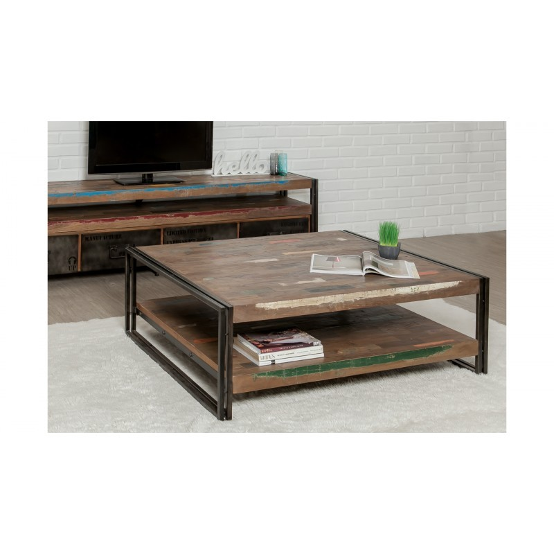 Table low double trays rectangular vintage NOAH massive teak recycled and metal (120x100x40cm) - image 36310