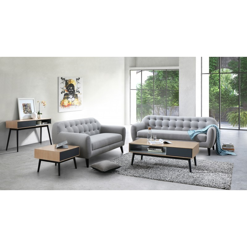 Scandinavian fixed right sofa 2 seater VLADA fabric (light gray) - image 36312