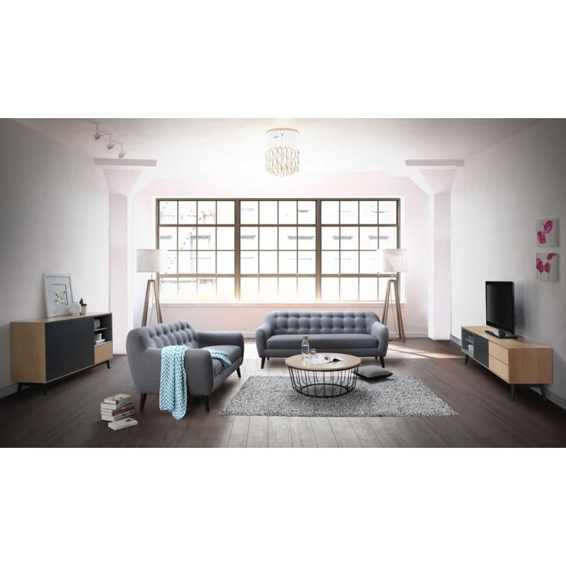 Escandinavo sofá derecho fijo 3 lugares a tela VLADA (gris oscuro) - image 36327