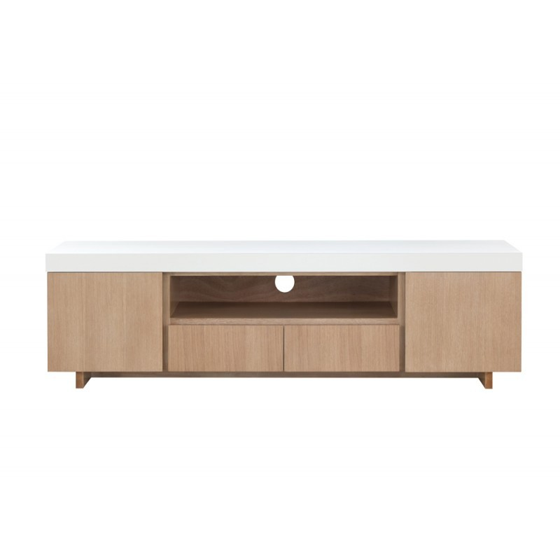 Furniture 2 doors 1 low TV niche 2 drawers contemporary and design EMMA wooden 170 cm (clear, white oak)