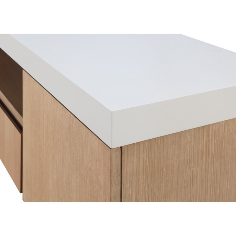 Furniture 2 doors 1 low TV niche 2 drawers contemporary and design EMMA wooden 170 cm (clear, white oak) - image 36346