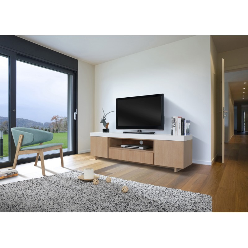 Furniture 2 doors 1 low TV niche 2 drawers contemporary and design EMMA wooden 170 cm (clear, white oak) - image 36348