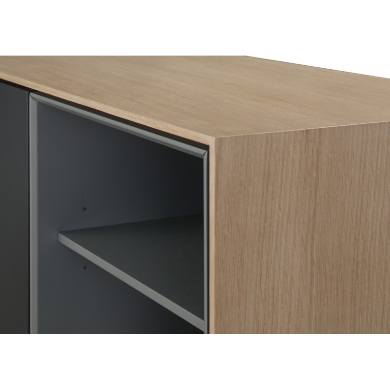 Buffet enfilade design 2 portes 2 niches 1 tiroir ADAMO en bois 150 cm (chêne clair) - image 36361