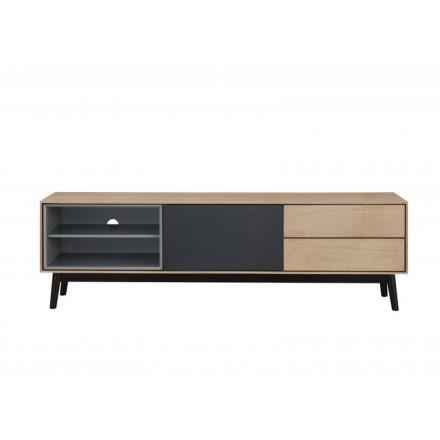 Muebles de diseño bajo TV 2 nichos 1 puerta 2 cajones ADAMO madera (roble claro)