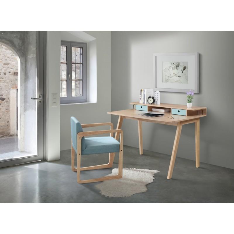 Scandinavian design office FLAVIE wooden (oak clear, blue) - image 36380