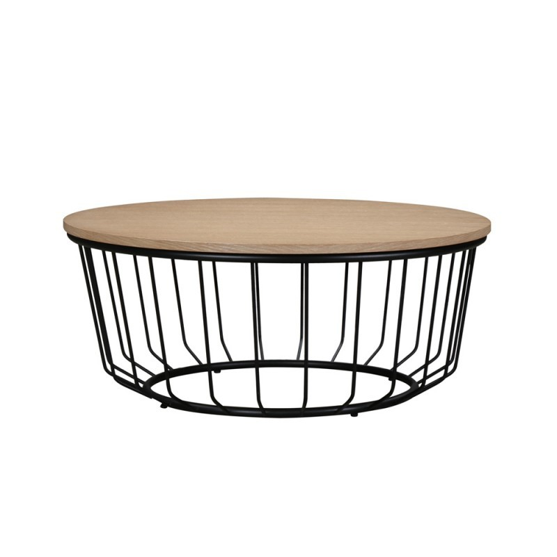 Table basse ronde design michou en bois et m tal ch ne for Table noir et bois