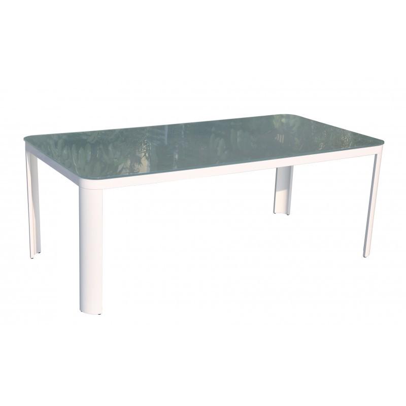 Esstisch und 8 Stühle TASHA in Textylen und Aluminium (hellgrau) - image 36426