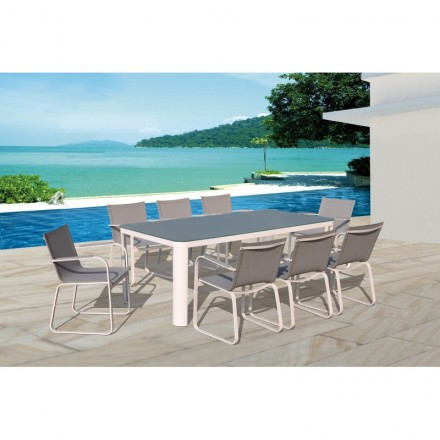 Dining table and 8 chairs TASHA in textilene and aluminium (light gray)