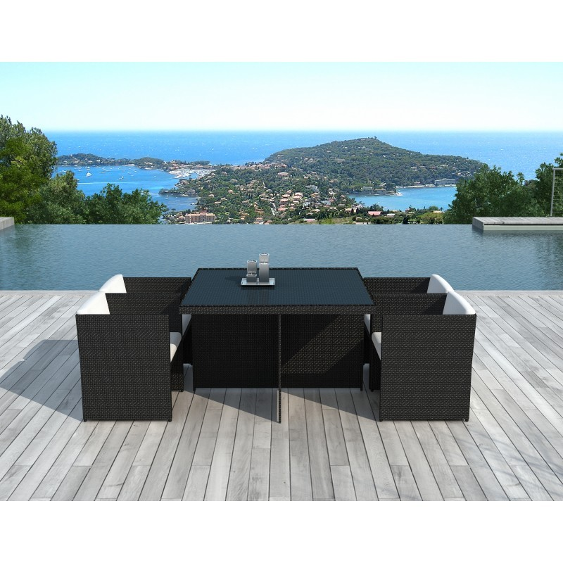 Dining table and 4 chairs built-in Garden KRIBOU in woven resin (black, white/ecru cushions) - image 36430