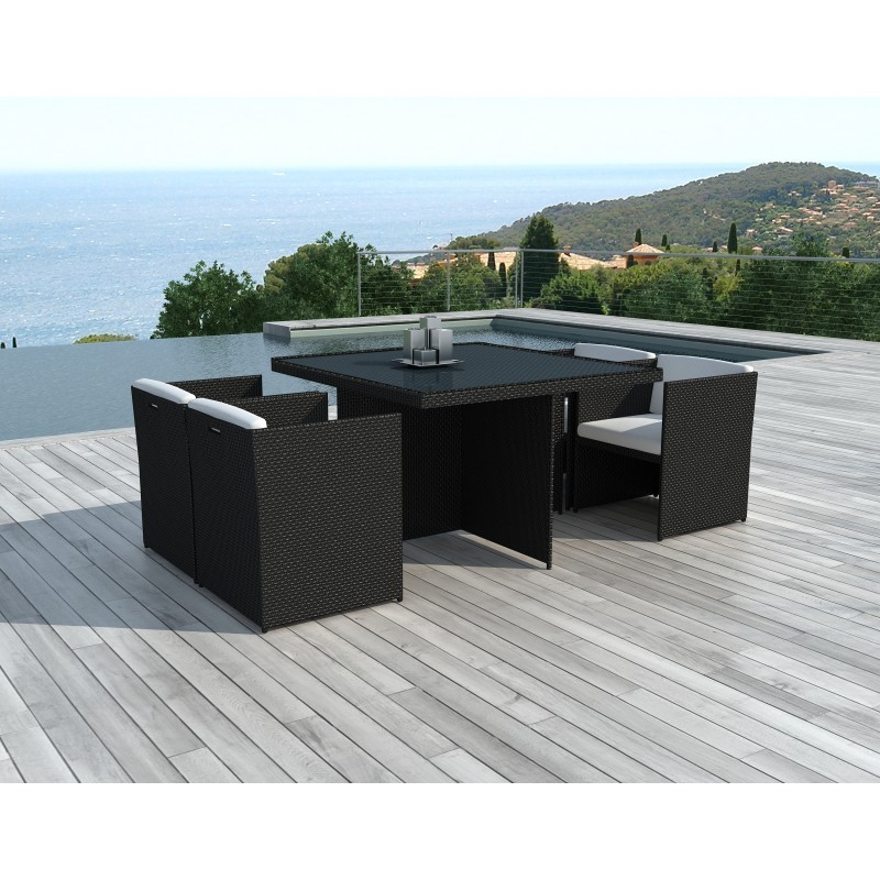Dining table and 4 chairs built-in Garden KRIBOU in woven resin (black, white/ecru cushions) - image 36431