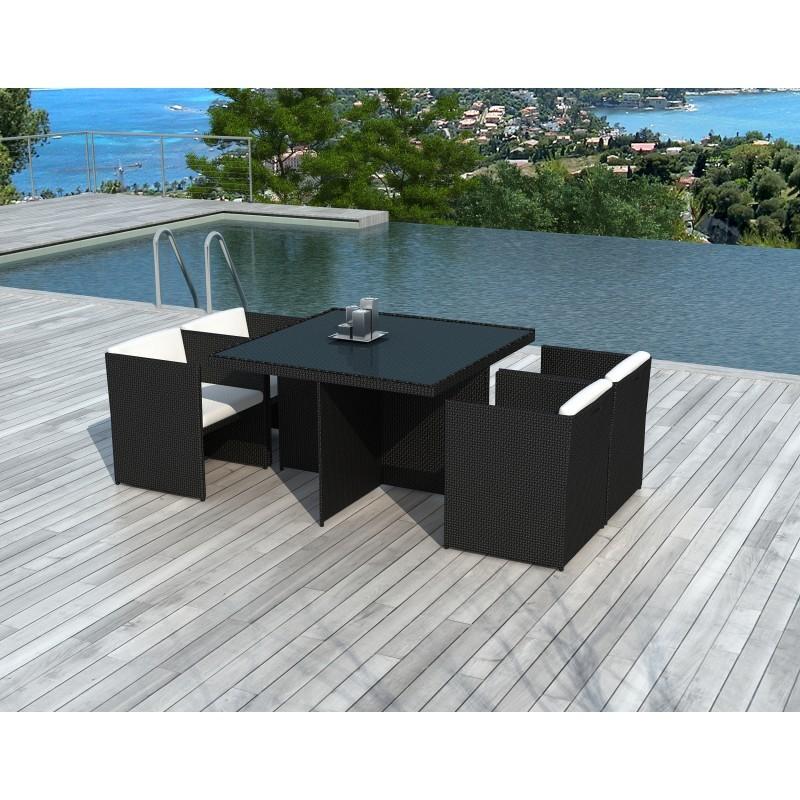 Tavoli E Sedie Da Giardino In Pvc.Tavolo E 4 Sedie Built In Giardino Kribou In Resina Intrecciata