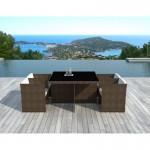 Tavolo da pranzo e 4 sedie built-in giardino KRIBOU in resina intrecciata (marrone, bianco/ecru cuscini)