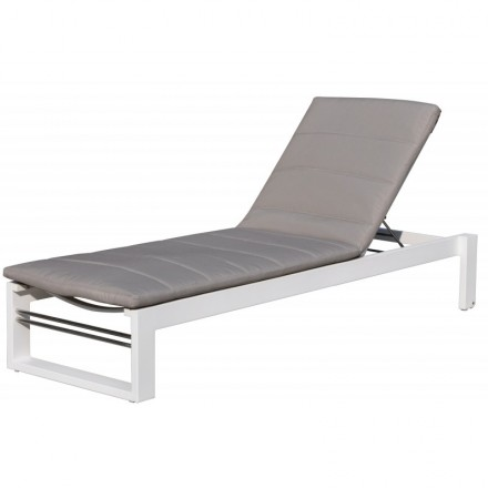 Sunbathing sunbed 4 positions STAS in textilene and aluminium (white, taupe)
