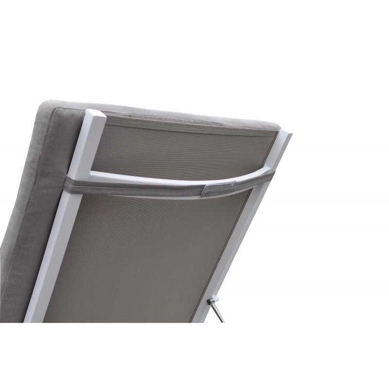 Bain de soleil transat 4 positions STAS en textilène et aluminium (blanc,  taupe) - Fauteuil de jardin