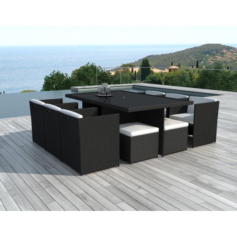 Giardino camera 10 posti ÚBEDA incorporato in resina intrecciata (neri, bianco/ecru cuscini) - image 36442