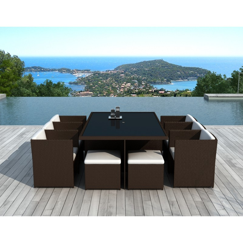 Garden Room 10 places built-in ÚBEDA in woven resin (Brown, white/ecru cushions) - image 36443