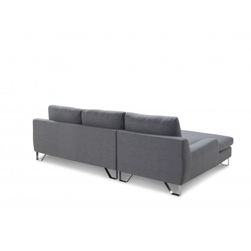 Corner sofa design left 3 places with VLADIMIR chaise in fabric (grey) - image 36451