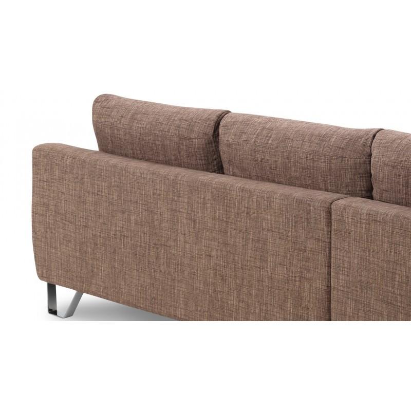 Canapé d'angle côté Gauche design 3 places avec méridienne VLADIMIR en tissu (marron) - image 36459
