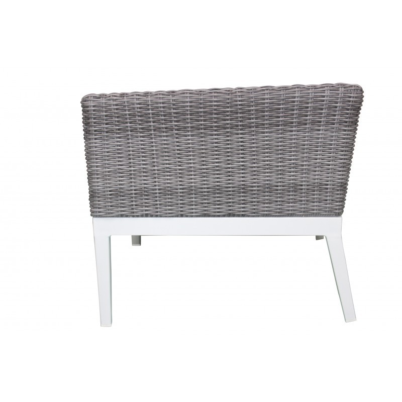 Garden furniture 4 seater PAMELA woven resin (white, grey cushions) - image 36531