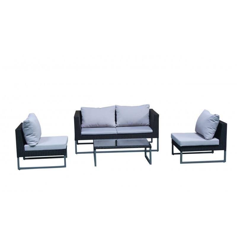 Garden furniture 4 seater LAZAR woven resin (black, grey cushions) - image 36533