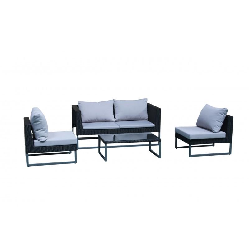Garden furniture 4 seater LAZAR woven resin (black, grey cushions) - image 36534