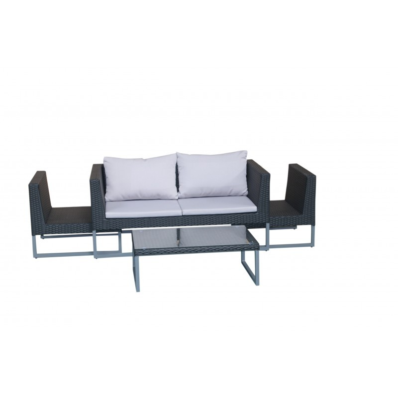 Garden furniture 4 seater LAZAR woven resin (black, grey cushions) - image 36535