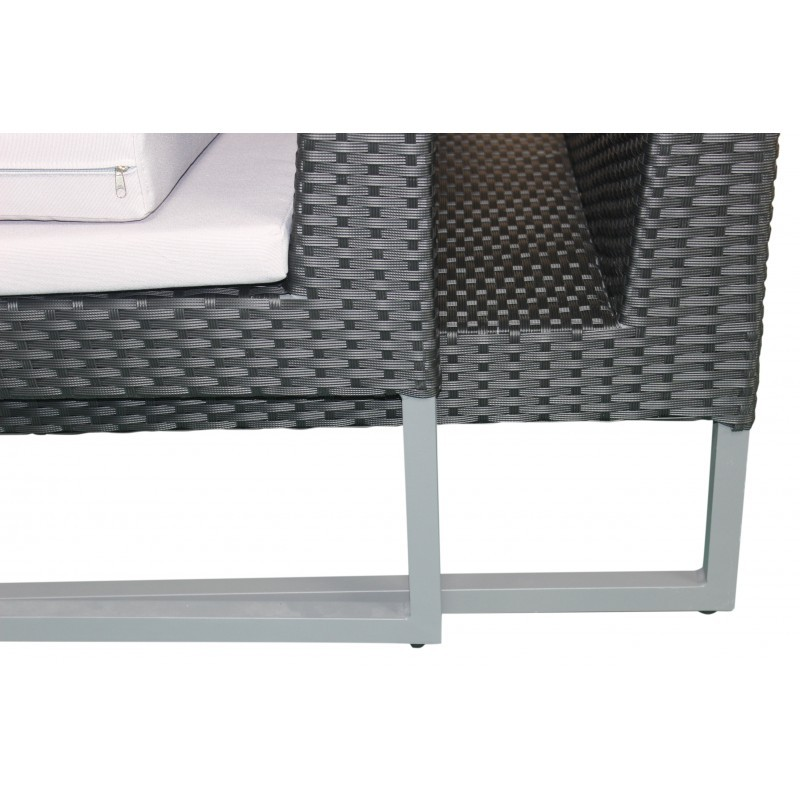 Garden furniture 4 seater LAZAR woven resin (black, grey cushions) - image 36538