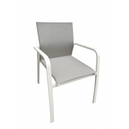 MITRON Garden In Aluminum And Textilene Chair (white, Taupe)   Outdoor  Armchair