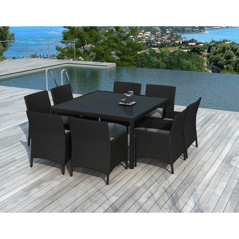 Dining table and 8 chairs garden PALMAS in woven resin (black, white ecru cushions) - image 36554