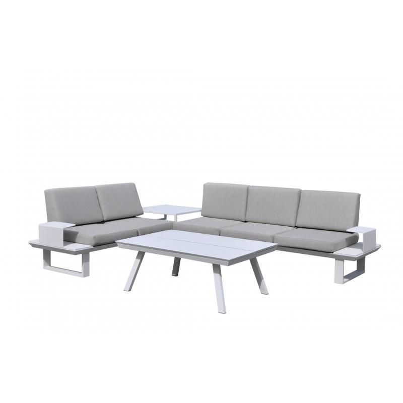 Garten Möbel 6 Sitzer BARNABAS Aluminium (weiß, Taupe)