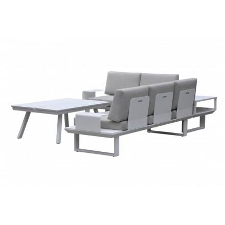 Salon de jardin 6 places BARNABE en aluminium (blanc, taupe) - AMP Story  5481