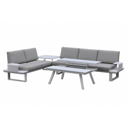 Salon de jardin 6 places BARNABE en aluminium (blanc, taupe) - AMP ...