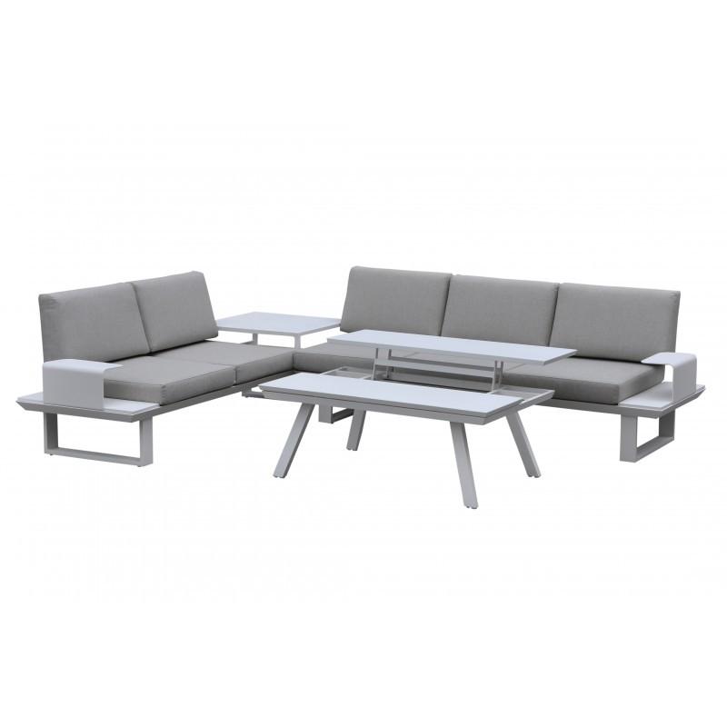 Garten Möbel 6 Sitzer BARNABAS Aluminium (weiß, Taupe) - Gartenmöbel