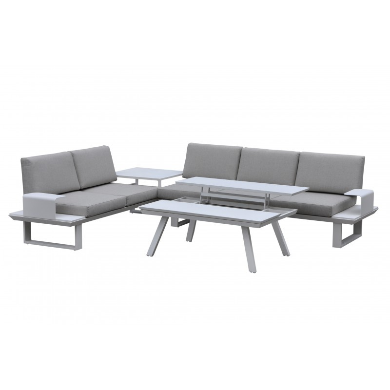 Garden furniture 6 seater BARNABAS aluminum (white, taupe)