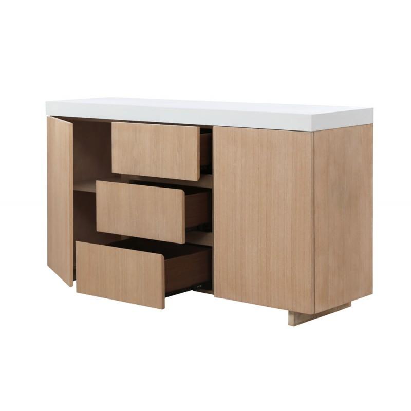 Buffet la fila 2 puertas, 3 cajones diseño y EMMA escandinavo madera (roble claro, de blanco) - image 36577