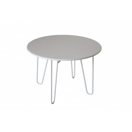 Dining table round PAVEL (white) painted metal