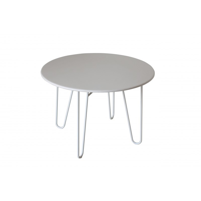 Dining table round PAVEL (white) painted metal - image 36598