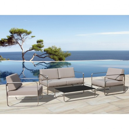 Garden furniture 4 seater VITALY fabric and metal (taupe)