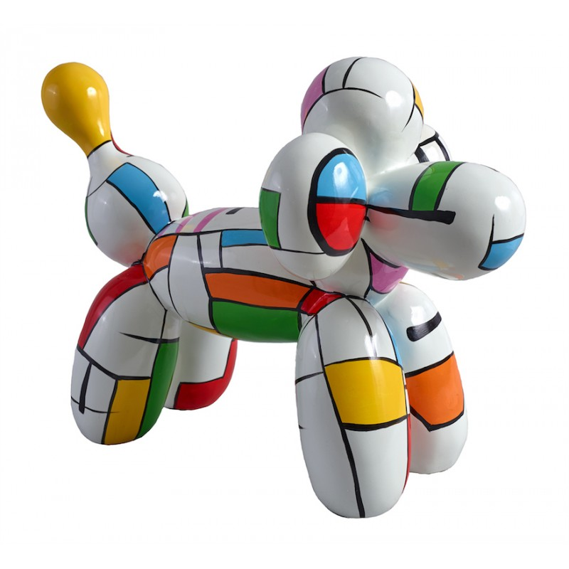 Statue dog Harlequin balloon design decorative sculpture in resin H35 (multicolor) - image 36666