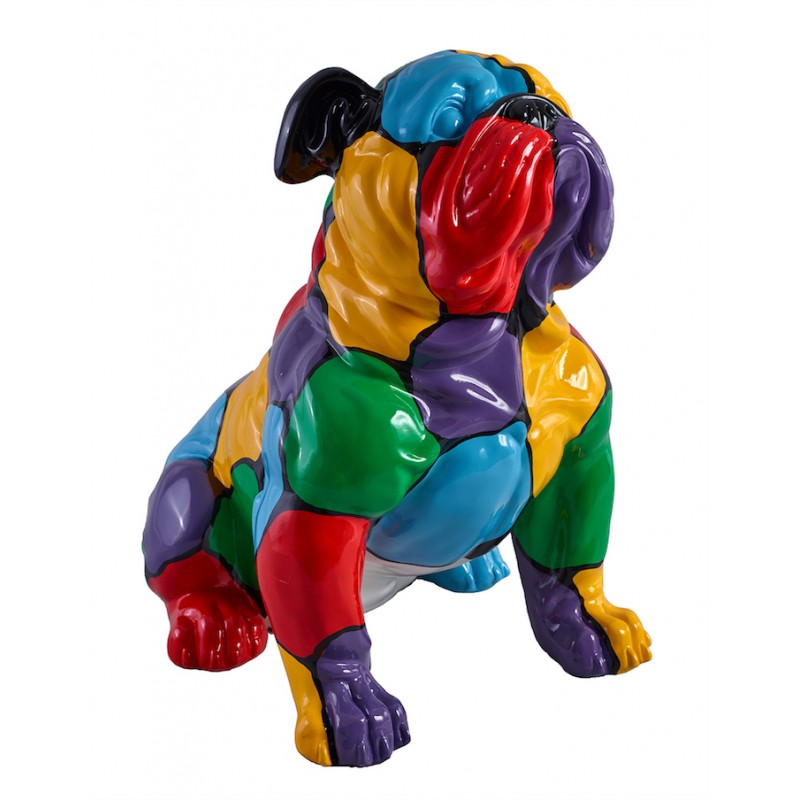 Cane statua BULLDOG di design scultura decorativa in resina (multicolor)