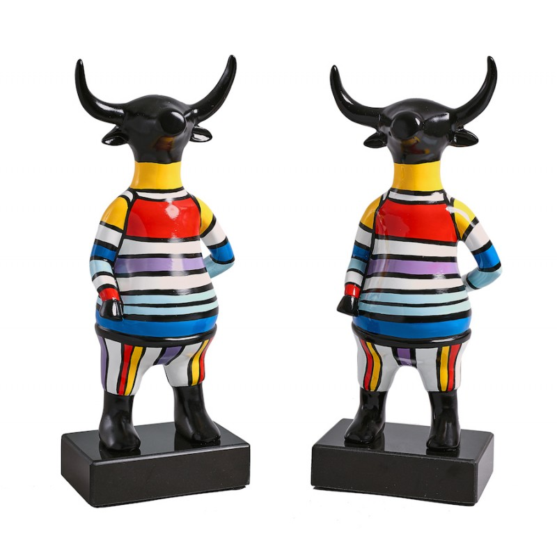 Set of 2 Bull design sculptures in resin (multicolor)