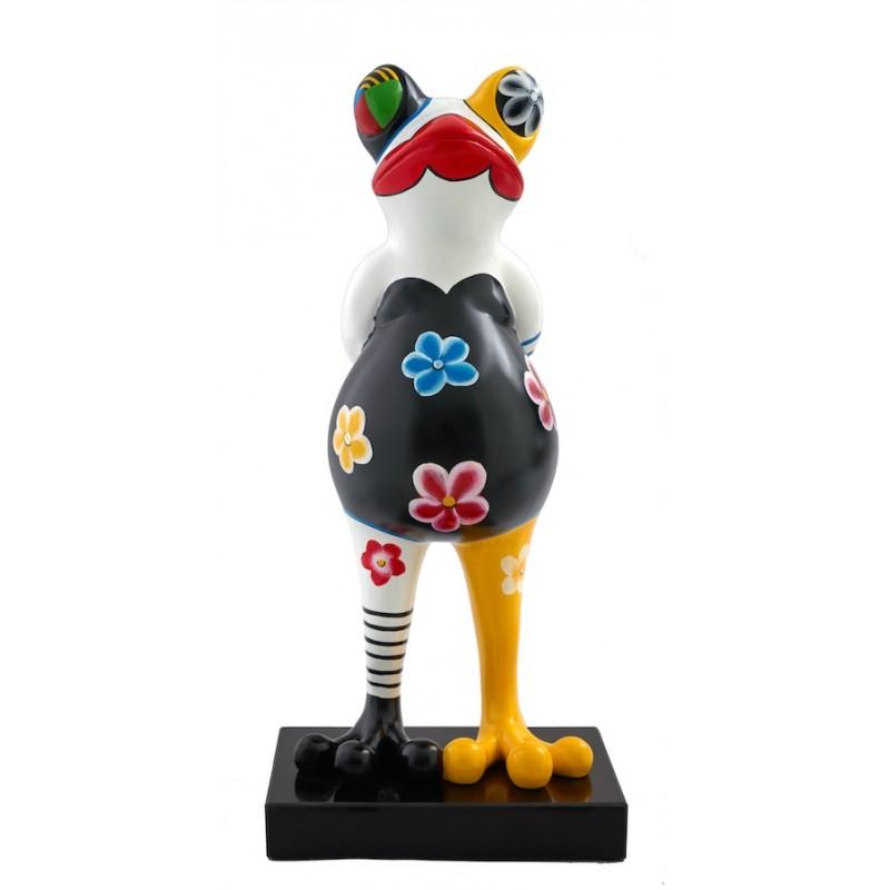 Statue design decorative sculpture frog flowers in resin H67 (multicolor)