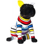 Statue dog sitting stripes design decorative sculpture in resin (multicolor)