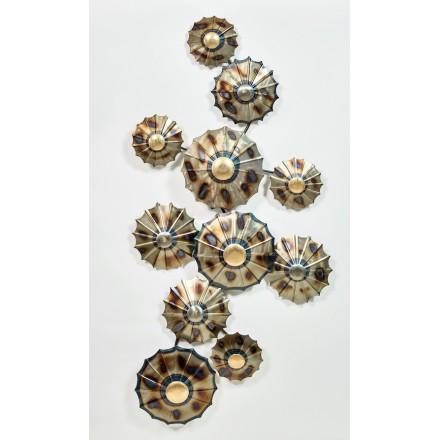 Wand Skulptur Regenschirm Metall (Silber, Beige, Braun)   Dekorative  Wandskulptur